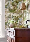 Thibaut Lincoln Toile Wallpaper in Beige and Spa Blue